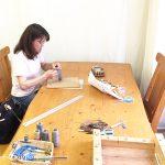 今日もマクラメ編み教室 ラーメンどんぶり柄ネックレスを作ろう!!